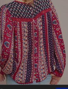 Anthropologie/Maeve gretchen patchwork blouse